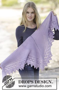 "Lavendula - Knitted DROPS shawl in garter st with edge in lace pattern in ""Alpaca"". - Free pattern by DROPS Design Lace Knitting, Knitting Patterns Free, Free Pattern, Drops Design, Knitted Shawls, Crochet Shawl, Alpacas, Shawls And Wraps"
