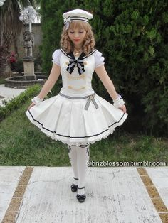 Sailor Lolita Napoleon Marine Jumper Skirt Dress by Angelic Pretty in white