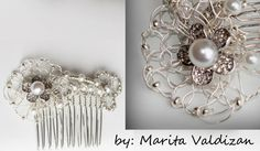 One-of-a-kind bridal hair comb, designed and handcrafted in Victorian style. Created from crocheted wire in a unique style. Beautifully hand-made using silver-plated anti-tarnish coated fine wire finished.