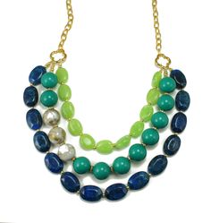 Long Chunky Statement Necklace, Blue, Teal, Chartreuse, Pantone Fall Colors, Fashion Necklace, Live a Little.
