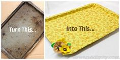 Recycle an old cookie sheet into cute tray #recycledcrafts