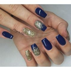 Ongle gel · bleu marine · navy blue and gold glitter nails by margaritasnailz from nail art gallery ongles, ongles à Blue Gold Nails, Dark Blue Nails, Navy Nails, Gold Acrylic Nails, Gold Glitter Nails, Black Nails, Acrylic Nail Designs, Navy Gold, Gold Stripes