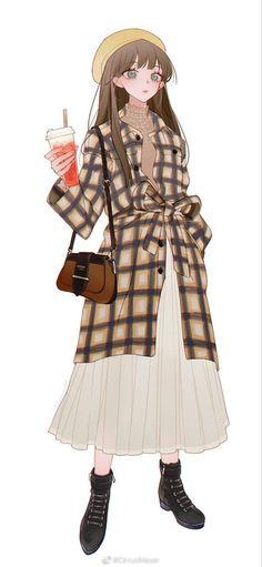 Anime Girl Dress, Manga Anime Girl, Cool Anime Girl, Anime Girl Brown Hair, Anime Couple Kiss, Cute Cartoon Drawings, Character Design Girl, Korean Girl Fashion, Cute Art Styles