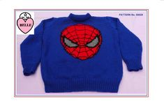 Super man Jumper knitting pattern in DK. Also as PDF. Bamboo Knitting Needles, Loom Knitting, Knitting Stitches, Jumper Knitting Pattern, Knitting Patterns, Boys Sweaters, Men Sweater, Daisy Pattern, Great Christmas Gifts