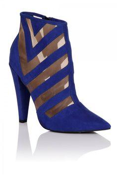 Chloe Lewis Edit Cobalt Blue Mesh Insert Heel Boot