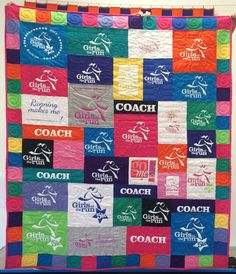 A Too Cool T-shirt Quilt for this super runner! If you're a runner and have too many T-shirts, a T-shirt quilt is a great way to save those memories and clear your closet space - for more running shirts, of course! For more information, please visit our website:  https://www.toocooltshirtquilts.com/
