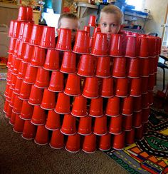 It's a Boy's Life: Great Cup-struction; use white cups for each team to make a snowfort and then throw small Nerf balls for fight!