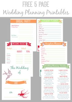 30 Page Wedding Planning Printable Set | Bacon, Wedding and Flowers