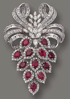 Vintage Rings Ruby and diamond brooch cartier, I would wear it in my hair. You are going to wear this? Yes or No