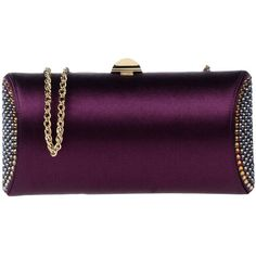 Rodo Handbag ($420) ❤ liked on Polyvore featuring bags, handbags, purple, rhinestone purses, metallic purse, purse clutches, man bag and rhinestone handbags purses