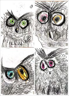 These loose sketches reminded me that quick, relaxed sketching stressing mark making produces some excellent student work! charcoal owls - a fun way to explore charcoal with kids Kindergarten Art, Preschool Art, 2nd Grade Art, Atelier D Art, Ecole Art, School Art Projects, Art Lessons Elementary, Middle School Art, Autumn Art