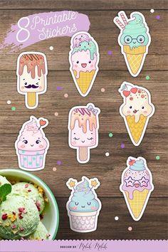 Craft Stickers, Kids Stickers, Printable Stickers, Cute Stickers, Planner Stickers, Preppy Stickers, Journal Stickers, Ice Cream Cartoon, Diy Arts And Crafts