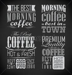 レトロなタイポグラフィ、コーヒー ショップ、カフェ、メニュー デザイン要素、黒板にチョークで描画レストラン要素