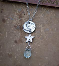 Artisan Sterling Aqua Teardrop Crescent Moon by NINandBUMM on Etsy