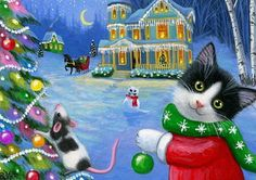 Tuxedo-kitten-cat-mouse-house-decorating-Christmas-tree-OE-aceo-print-art