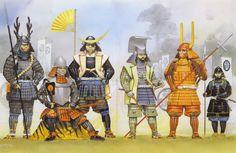 """Sekigahara, 1600"", Angus McBride Honda Tadatsugu (本多 忠次, 1547–1612) Tokugawa Ieyasu (徳川 家康 31 de enero de 1543 – 1 de junio de 1616) Date Masamune (伊達 政宗 5 de septiembre de 1567 – 27 de junio de 1636) http://es.wikipedia.org/wiki/Date_Masamune Kuroda Nagamasa (黒田長政 1568-1623) Ii Naomasa (井伊直政 4 de marzo de 1561 – 24 de marzo de 1602)"