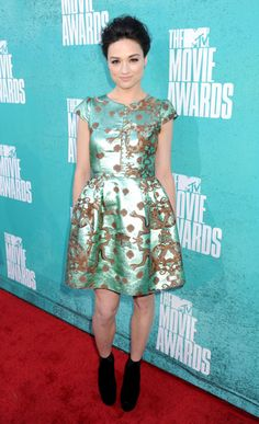 Crystal Reed of MTV's 'Teen Wolf' photographed on the red carpet at the 2012 MTV Movie Awards in Los Angeles.