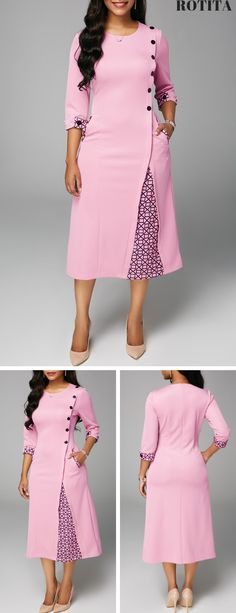 From parties and formal dinners to w – Outfits for Work Button Embellished Round Neck Pocket Dress .From parties and formal dinners to w Party Dress Sale, Club Party Dresses, Event Dresses, Pretty Dresses, Sexy Dresses, Casual Dresses, 50s Dresses, African Fashion Dresses, African Dress
