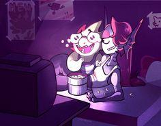 Two girlfriends watching anime. Alphys can't handle the feels Undertale Love, Undertale Ships, Undertale Comic, Alphys X Undyne, Kid Icarus, Toby Fox, Undertale Drawings, Best Waifu, Indie Games