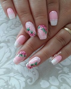 Linduras. 😍💅❤ 3d Nails, Pink Nails, Cute Nails, Pretty Nails, Flower Nail Designs, Nail Art Designs, Paws And Claws, Snacks For Work, Flower Nails