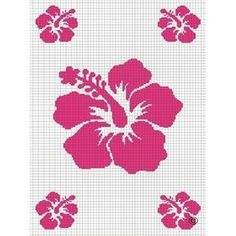HOT PINK OR MAKE ANY COLOR YOU LIKE HAWAIIAN HAWAII HIBISCUS SILHOUETTE CROCHET PATTERN GRAPH AFGHAN BLANKET THROW BED BEDDDING FLOWER THEM | CozyConcepts - Patterns on ArtFire