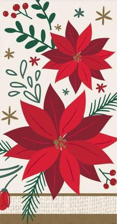 Modern Poinsettia Guest Towel, 3 Ply, 16 ct Christmas Ships, Christmas Holidays, Poinsettia Flower, Beverage Napkins, Christmas Party Decorations, Embroidered Bag, Guest Towels, Paper Napkins, All Modern
