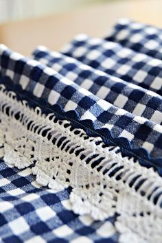 Navy White Gingham Table Runner with Handmade Lace by BizimFlowers