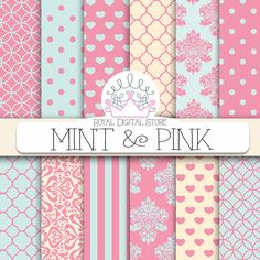 """Mint and Pink Digital Paper: """"Mint & Pink """" with mint and pink patterns, damask, hearts, quatrefoil, polka dots, geometric patterns #pink #mint #planner #damask #partysupplies #digitalpaper #scrapbookpaper #wedding #shabbychic"""