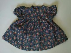 Vtg Baby Girl Dress 6-12M Handmade Blue Pink Rose Calico Short Sleeve #Handsewn #Party