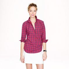 J.Crew Red tartan popover - tried this on and looooved it. Comfortable and flattering, and it was 30% off!
