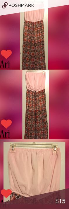 """LOVE ARI Pink Aztec Strapless Wide Leg Jumpsuit SIZE M. 53"""" Length. 24""""-40"""" Bust. 26""""-38"""" Waist. 11.5"""" Wide Leg Bottom. 30"""" Pants Inseam. Baby Pink Strapless Elastic Top. 13"""" Matching Baby Pink Shorts Length & 2.5"""" Inseam. Marigold & Fire Oranges, Scarlett Red Aztec Print Pants. 100% Polyester. EUC Love Ari Pants Jumpsuits & Rompers"""