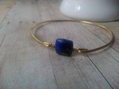 Lapis Lazuli Bangle Bracelet  Natural Lapis Lazuli by BaubleVine, $15.95