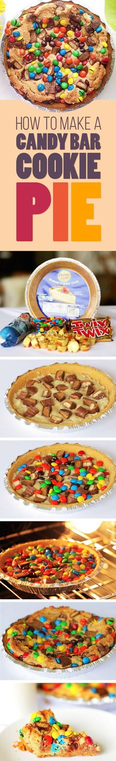 1 store-bought graham cracker pie crust 1 package sugar cookie dough 5 to 7 mini Reese's cups 4 Twix bars (from 2 packages) 1 cup M&Ms Bake 40 mins @ 350 Cookie Dough Pie, Cookie Bars, Pie Dessert, Dessert Recipes, Baking Recipes, Candy Bar Cookies, Twix Bar, Pam Pam, Best Pie