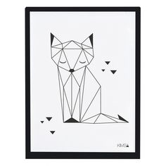 Kinderzimmerbild 'Origami-Fuchs' schwarz/weiß 30x40cm