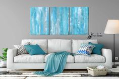 Large wall art Teal gray aqua blue abstract Multi-panel 3 piece canvas print set Living room dining or bedroom wall decor 60 72 90 Blue Wall Decor, Grey Wall Art, Large Wall Art, Abstract Canvas Wall Art, Blue Abstract, Blue Canvas, Abstract Paintings, Original Paintings, Canvas Prints