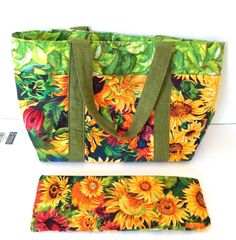 Handmade Purse Tote Bag Sunflower Floral Small by GabbysQuilts