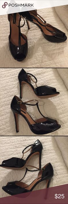 EUC Peep toe patent leather shoes Classy, sexy patent leather heels. The possibilities are endless. Great shoes at a great price. Ann Taylor Shoes Heels