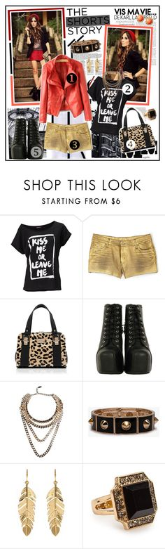"""The SHORTS Story: Leather & Gold Color POP"" by fashiontake-out ❤ liked on Polyvore featuring Maison Margiela, Urban Renewal, Faith Connexion, Forever New, Jeffrey Campbell, Giuseppe Zanotti, Forever 21, Amrita Singh, Banana Republic and leather biker jackets"