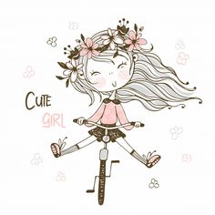 Cute girl with a long pigtail holding a kitten. Girl Cartoon, Cute Cartoon, Character Template, Cartoon Background, Kid Character, Anime People, Girls Characters, Cute Little Girls, Kawaii Girl