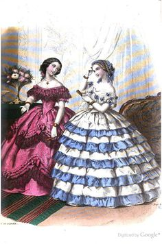 1858.  Ladies' Home Companion.  Bi-colored flouncing.  Lace and puffed scallops with large ribbon rosette.