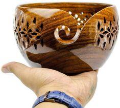 Wooden Lattice Yarn Bowl for Knitting Crochet Holderl with | Etsy Wooden Yarn Bowl, Wooden Bowls, Crochet Hooks, Knit Crochet, Ruffle Yarn, Yarn Storage, Wooden Storage Boxes, Clutch, Crochet Accessories