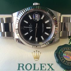 Another Rolex Datejust II in stock. More options available http://www.globalwatchshop.co.uk/rolex-datejust-ii-black-baton-dial-116334.html?utm_content=buffer97e15&utm_medium=social&utm_source=pinterest.com&utm_campaign=buffer DM for details
