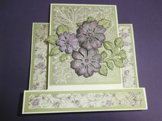I made this Centre Step Card (instructions on Splitcoast Stampers.com under tutorials) I used the Raindrops on Roses Collection and Tattered Blossoms, Open Leaf Precut and Dies from Heartfelt creations.