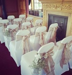 Beautiful Hessian & lace sashes finished off this wedding chair decor, to the side big batches of gypshelia was added! Lovely rustic theme! Wedding Decorations, Wedding Chair Decorations, Wedding Chairs, Pew Ends, Rustic Theme, Hessian, Chair Sashes, Event Decor, Events