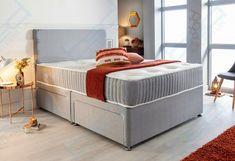 Fabric Divan Bed Set With Memory Foam Mattress And Headboard Double King Single · $199.95 Single Bed Base, Bed Centre, Bed Mattress, Grey Fabric, Bedding Sets, Memory Foam, Sleep, Ebay, Furniture