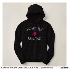 BONFIRE HOODIE LADIES BLACK & PINK CAMPING