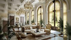 Interior , French Interior Design Styles Bring Aesthetic and Artistic Space : Classical Interior Design With Luxurious Chandelier And Sofa For Magical French Idea French Interior Design, Classic Interior, Interior Design Living Room, Room Interior, Interior Modern, Interior Doors, Kitchen Interior, Interior Ideas, Classic Home Decor