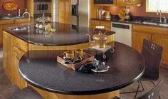 Kitchen : Amazing Kitchen Island Design With Golden Maple Base And Black Granite Coutertops Connected Raised Round Table Breakfast Bar 50 Awesome Kitchen Island Design Ideas Yellow Backsplash. Round Kitchen Island, Kitchen Peninsula, Granite Kitchen, Home Design, Design Ideas, Modern Design, Split Level Kitchen, Best Kitchen Design, Kitchen Designs