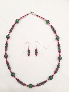 A personal favorite from my Etsy shop https://www.etsy.com/listing/257044794/ruby-zoisite-necklace-christmas-necklace