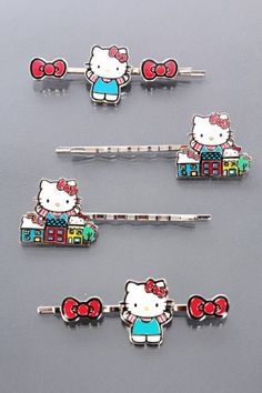 RED HOUSE BOW HELLO KITTY HAIRPINS - ACCESSORIES
